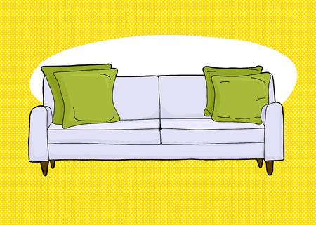 loveseat: Cartoon of single love seat sofa with corner cushions