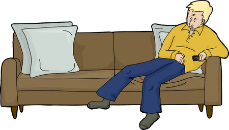 tv remote: Isolated cartoon of blond man asleep on couch with TV remote Illustration