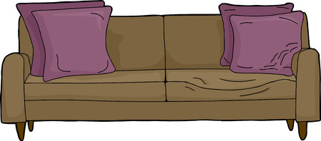 Invisible person seated in brown couch with cushions