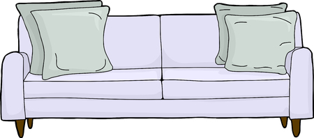 cushions: Cartoon of single couch with corner cushions Illustration