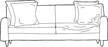cushions: Cartoon of pressed in seat sofa with corner cushions