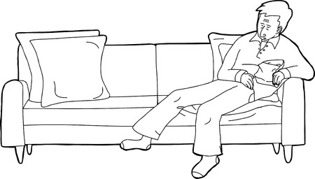 loveseat: Outline cartoon of person sleeping on sofa with snack