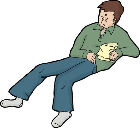 sleeping bags: Isolated single European man holding bag of food