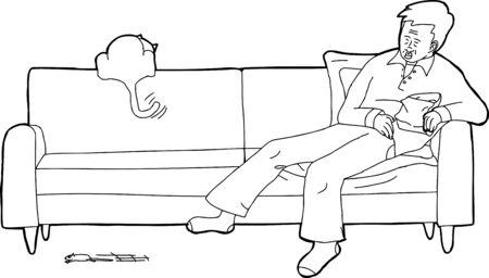 sleeping man: Cartoon of sleeping man with cat chasing mouse