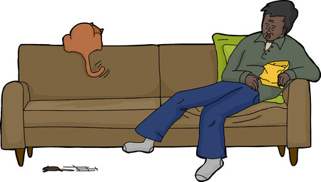 couch potato: Cartoon of isolated man with cat chasing mouse