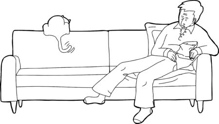 loveseat: Outline cartoon of sleeping adult with chips and cat on sofa