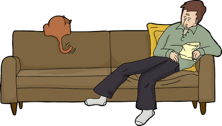 couch potato: Isolated cartoon of tired adult with food and cat on couch
