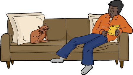 sleeping man: Cat scratching himself on sofa next to sleeping man Illustration