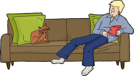 loveseat: Isolated man asleep with snacks on loveseat with cat