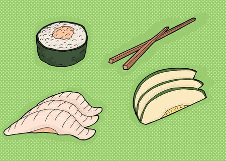 Traditional sushi meal cartoon with chopsticks over green