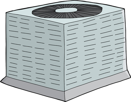 Isolated single hand drawn air conditioning unit Stock Illustratie