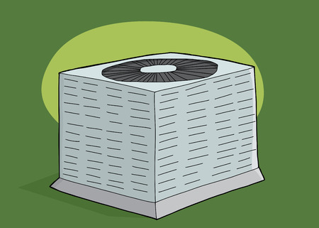 condenser: Cartoon hand drawn air conditioning unit over green