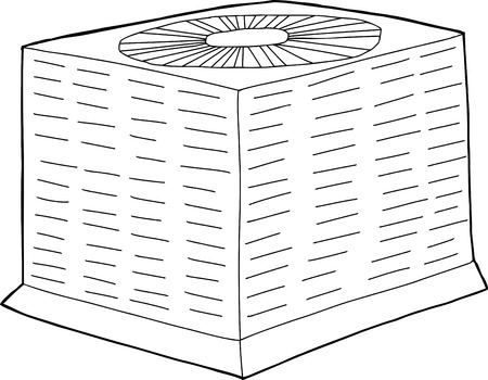 Outlined single hand drawn air conditioning unit over white Stock Illustratie