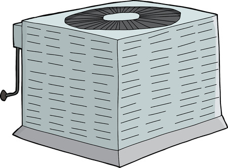 condenser: Isolated metal air conditioner with refrigerant tubing