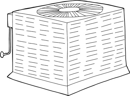 condenser: Outlined single hand drawn air conditioning unit Illustration
