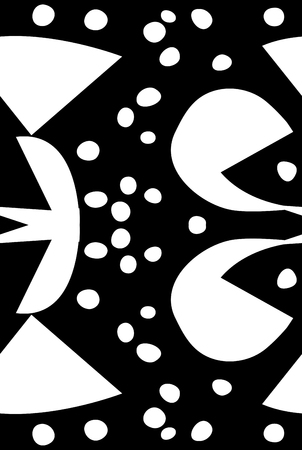Abstract bird beak shapes pattern over black