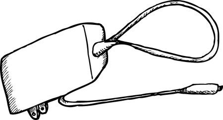 Outlined hand drawn power adapter with cord