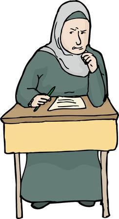 kwis: Illustratie van boze moslims vrouwelijke student problemen met quiz