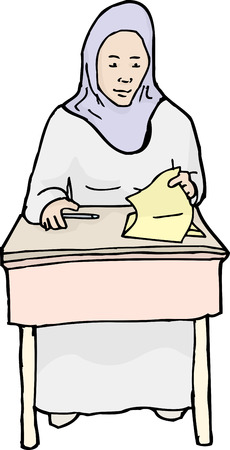 easygoing: Single hand drawn cartoon of grinning Muslim student with quiz Illustration