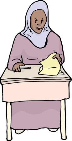 mirando: Un estudiante musulm�n sollozos mira el papel