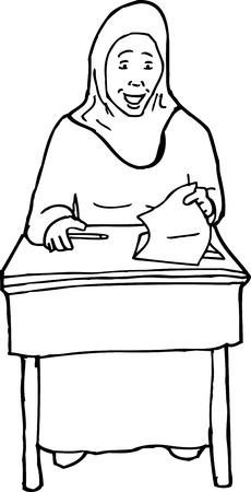 Illustration Of Nervous Muslim Female Student At Desk Royalty Free