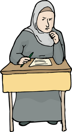 thinking student: Isolated illustration of serious female Muslim student thinking
