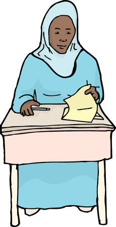 easygoing: Cartoon of calm Muslim student looking at paper