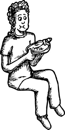 sketch out: Outlined girl with curly hair sitting and eating from plate Illustration