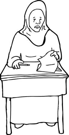 mirando: Esquema de la historieta de griter�o adolescente musulmana mirando de papel