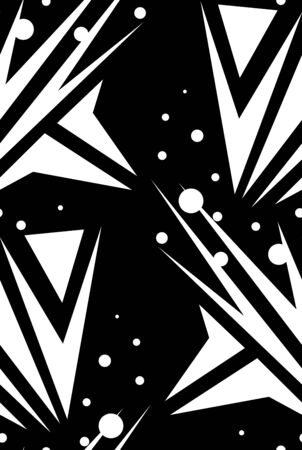 Various abstract arrows and dots in background pattern over black Ilustração