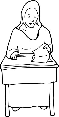 easygoing: Outline cartoon of grinning Muslim student with quiz Illustration
