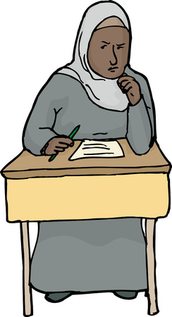 thinking student: Isolated cartoon of female Muslim student thinking Illustration