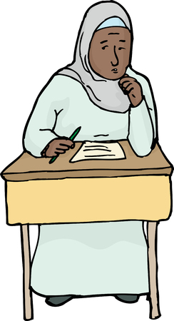uneasy: Cartoon of worried Muslim female student at desk Illustration