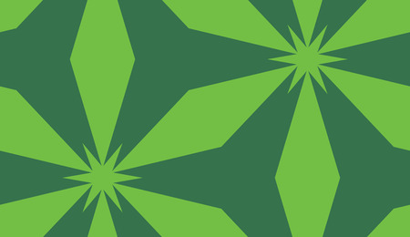 Repeating background of green star floral shapes