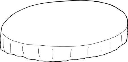 Outlined cartoon round tablecloth over white background Illusztráció