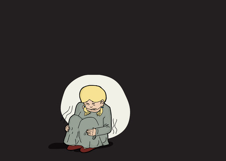 Illustration of abused child sitting alone in darkness