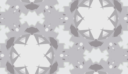 Gray kaleidoscope background as seamless pattern with star shapes