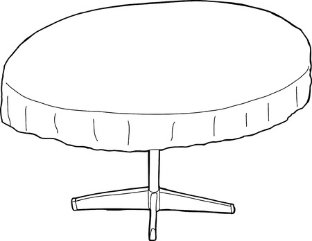 round table: Single cartoon round table with tablecloth outline