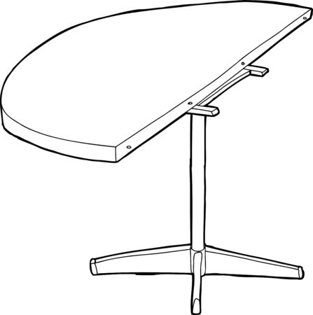 round table: Single cartoon outline of wooden round table half with legs