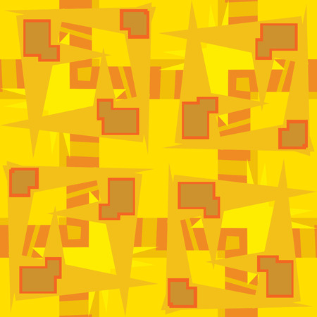 Abstract yellow rectangular shapes and lines in repeating pattern Ilustração