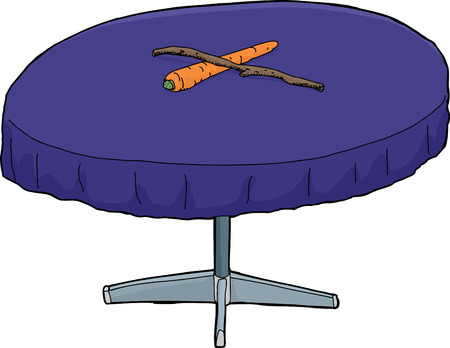Isoalted round table with carrot and stick on top