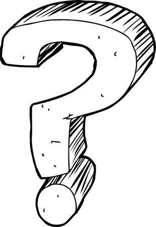 questioning: One outlined question mark over white background