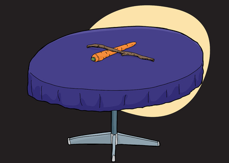 round table: Single round table with carrot and stick on top