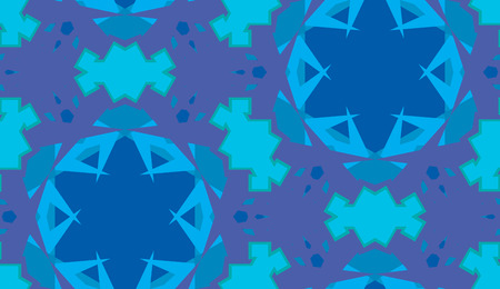 Kaleidoscope background as blue seamless pattern with star shapes Иллюстрация