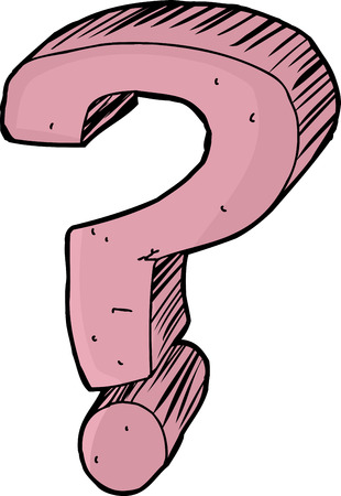questioning: Single hand drawn pink question mark over white background