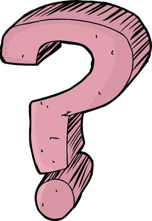 Single handgetekende roze vraagteken over witte achtergrond Stock Illustratie