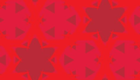 Red star shaped kaleidoscope background as seamless pattern