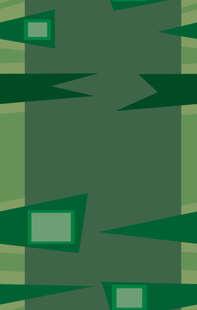 Rows of green abstract fence shapes in seamless patterns Ilustração