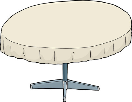 tablecloth: Single isolated cartoon round table with tablecloth