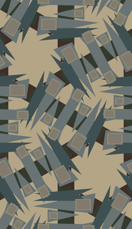 Repeating wrapping paper pattern of brown rectangles and triangles